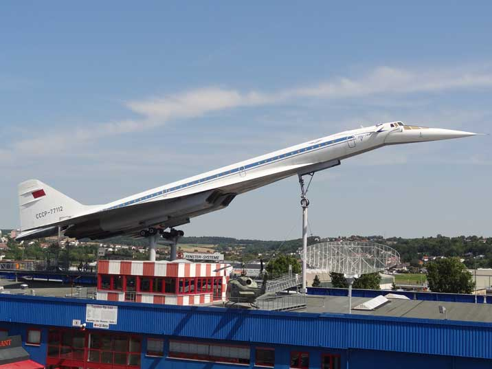 The Soviet Tupolev Tu-144D on the roof of an exhibition hall of the Auto & Technik Museum Sinsheim