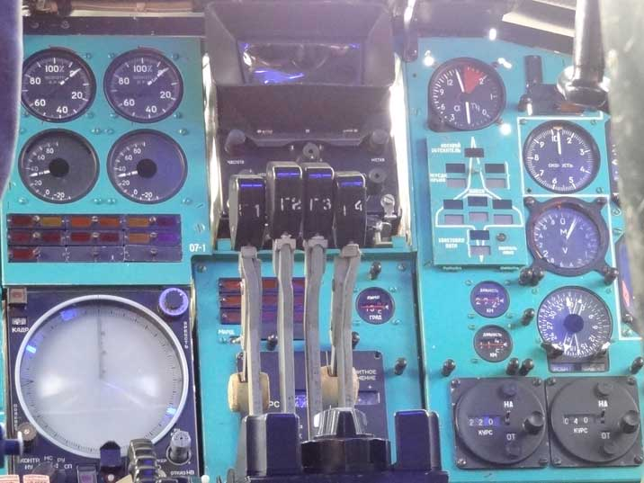 Tu-144D cockpit with the throttle Console of the Tu-144D, note the indicator sketch in shape of the Tu-144
