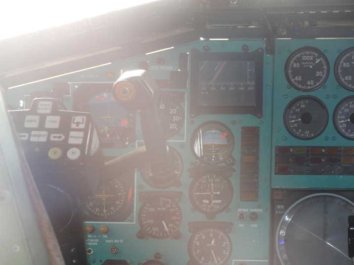 Left control column and instruments in the cockpit of the Tu-144 including the artificial horizon