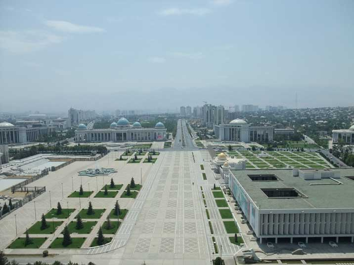 Turkmenbasy square with the Ruyhet palace and museum of fine arts