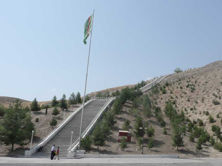 Start of the concrete 37 km Walk of Health staircase near Ashgabat