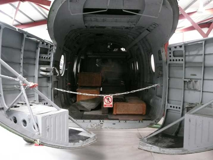 Cargo bay doors at the rear of the Mil Mi-4 transport helicopter