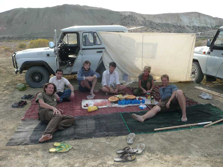 Setting up camp near the retreating Aral Sea coast line