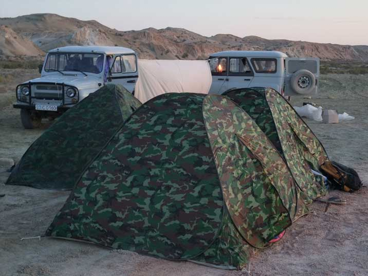 Our small tents on the campsite near the shore of the Aral Sea