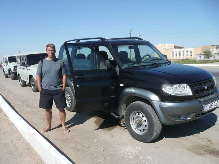 Three UAZ all terrain vehicles ready for the Aral Sea expedition