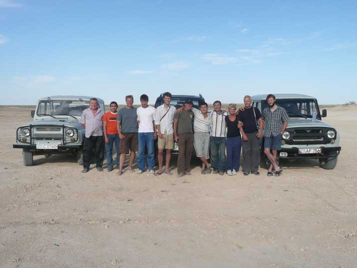 The Aral Sea expedition team with local guides and drivers