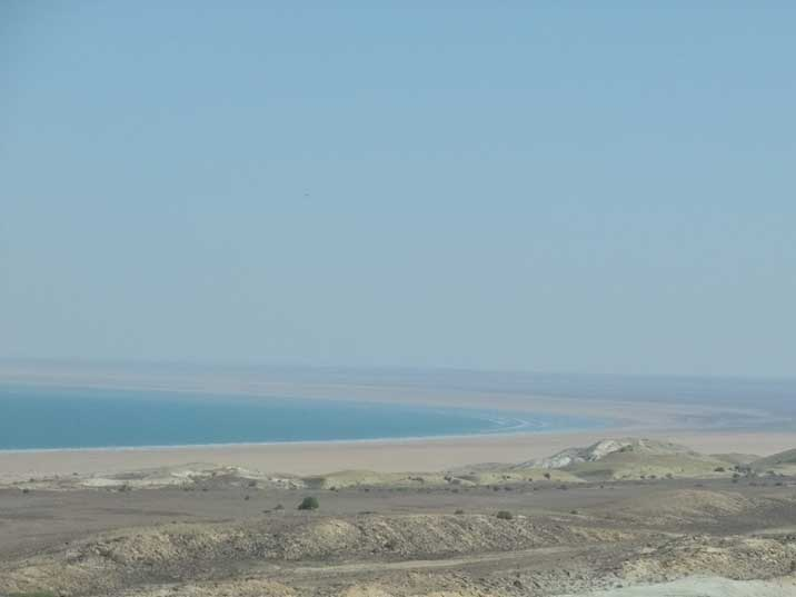 The Aral Sea shore after a day of driving trough the desert