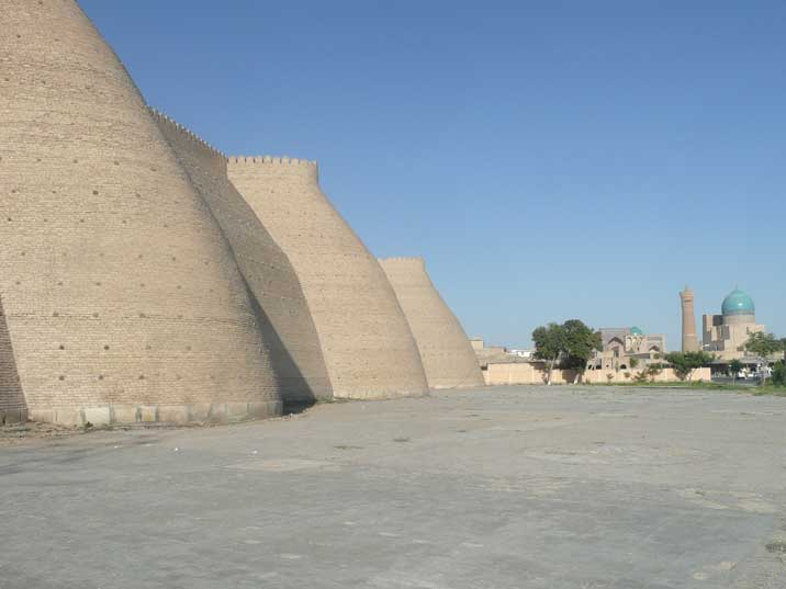 The Walls of the Ark fortress in the old town of Bukhara