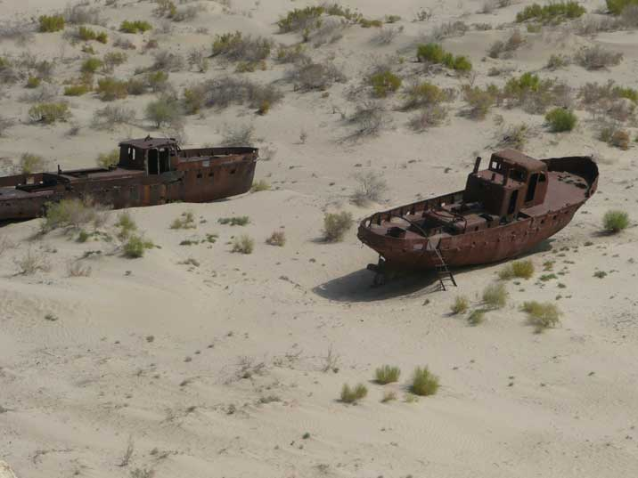 Fishing vessels in the dried up port of Moynaq on the Aral Sea