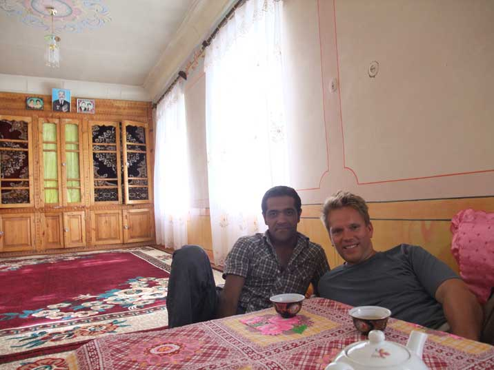 Drinking Tea at the Samarkand house of our Uzbek friend Otabek