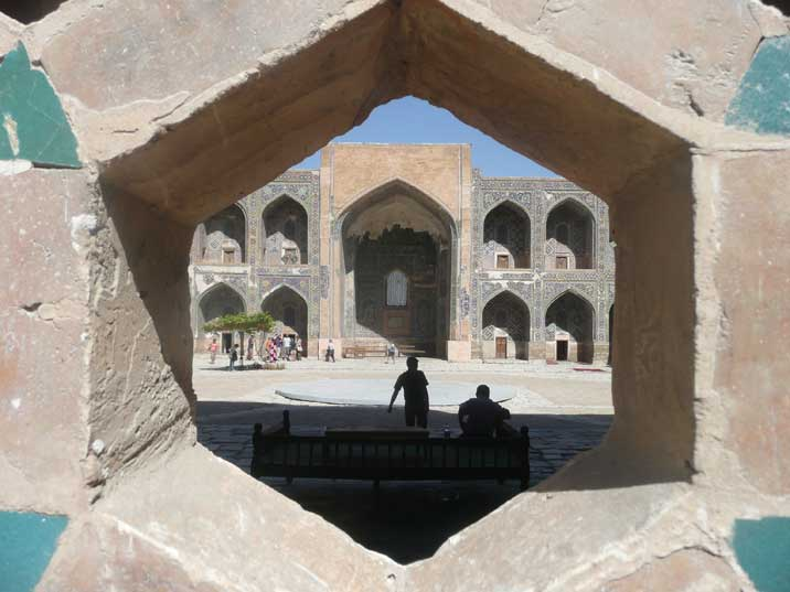 The central square inside Sher Don Medressa on Registan Square
