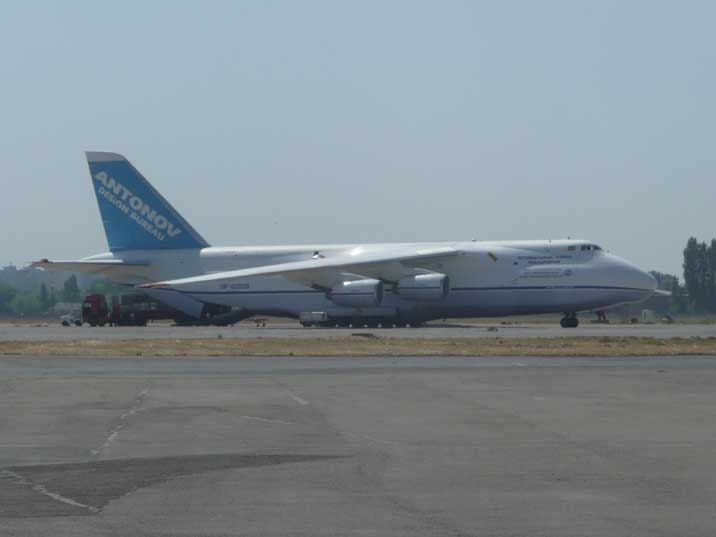 Giant Antonov An-124 Cargo plane parked on Tashkent Airport