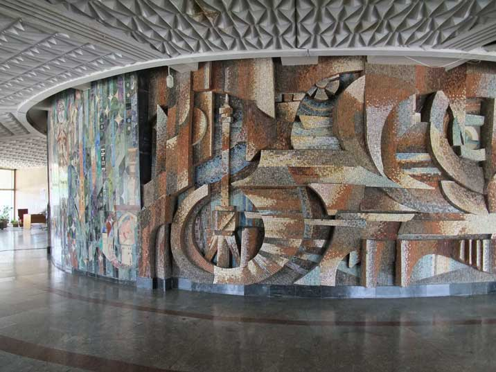 Soviet style wall fresco in the lobby of the Tashkent TV Tower