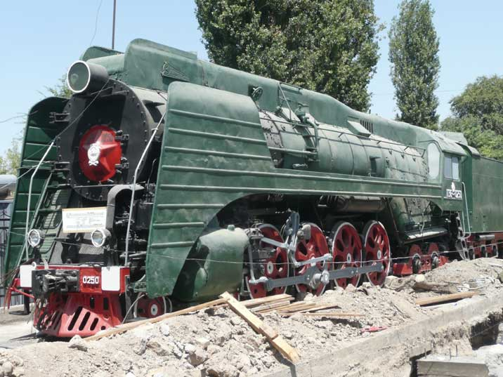 Soviet P36-0251 steam locomotive in Tashkent's railway museum