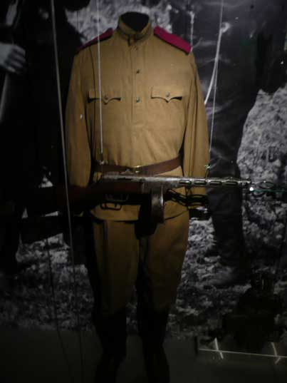 Displayed Red Army soldier uniform with PPSh-41 submachine gun