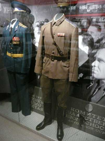 Red Army and KGB uniforms at the Genocide victims exposition