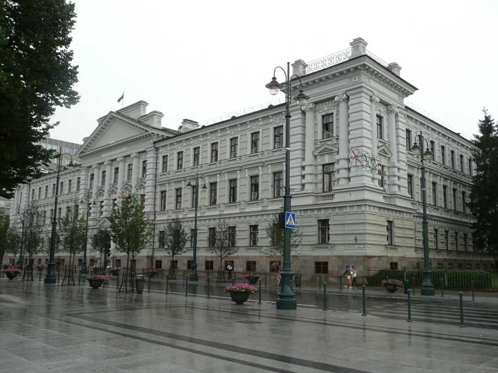 Former Vilnius KGB headquarters building seen from Lukiskes Square