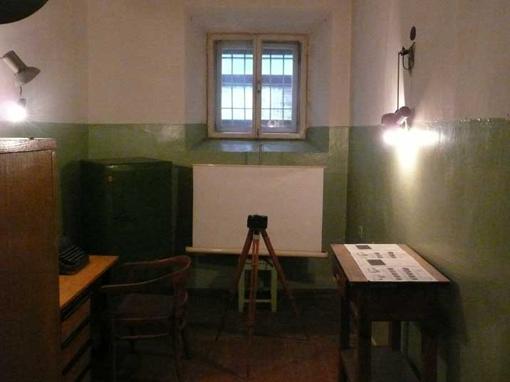 Room were new prisoners are photographed and fingerprints taken
