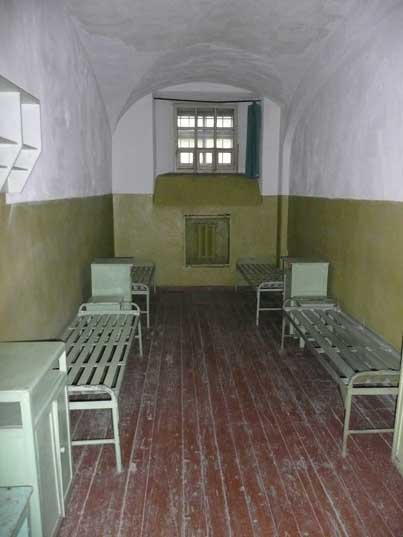 Prison cell for two persons in the KGB headquarters of Vilnius