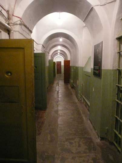 Prison corridor with cell entrances in the Vilnius KGB prison
