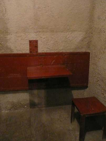 Chair and table in the solitary confinement cell of the KGB prison