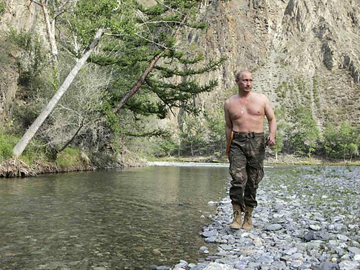 Putin showing of his well trained upper body while spending some time on the Yenisey River in Siberia
