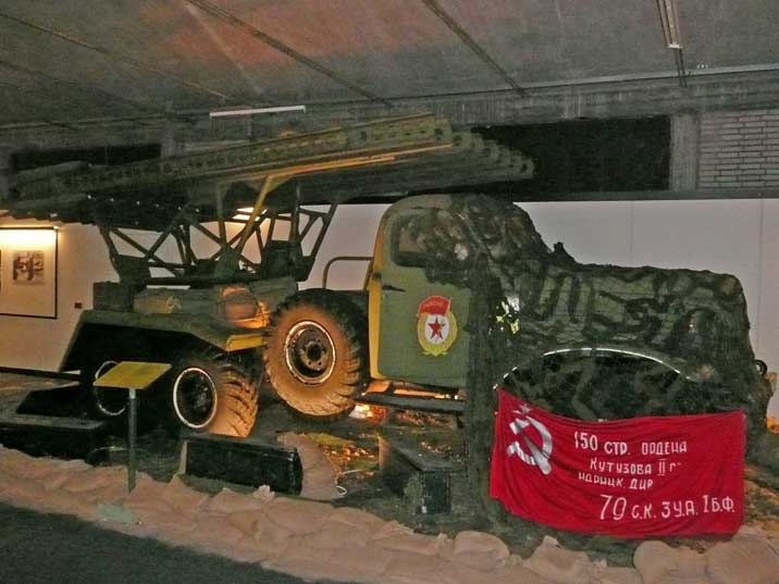 BM-13 Katyusha Rocket Launcher with a camouflaged Zil-151 truck