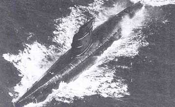 Soviet Zulu class submarine serviced in the cold Baltic Sea