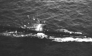 Soviet Zulu class submarine in action on the Baltic Sea