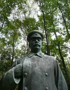 Rare statue of Stalin in Military uniform in Grutas Park Lithuania