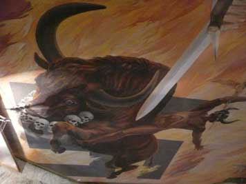 The Soviet victory over the fascist beast here painted as a bull with a Nazi soldiers that looks like the devil riding it