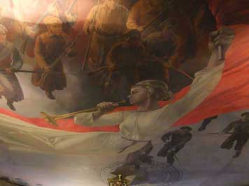 Mother Russia painted like an angel in a religious setting waving a Red flag and spurring on Red Army soldiers to victory