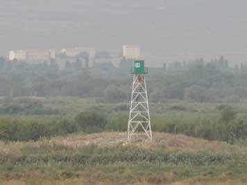 A Turkish lookout tower seen in Ararat from the road to Yerevan, relations between Turkey and Armenia are tense