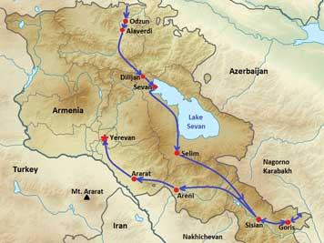 Map of Armenia showing our route starting in the Lori province, then Lake Sevan, Goris, Ararat to end in Yerevan