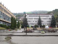 Soviet era public building in the picturesque town of Dilijan now used by the Armenia Bank