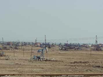 The James Bond Oil fields near the city of Baku where the 1999 Bond movie the World is not enough was recorded