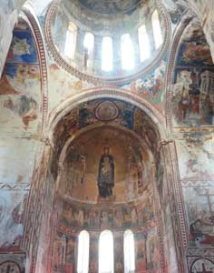 Beautiful mosaics inside the Gelati Monastery depicting Theotokos, Archangels Michael and Gabriel and Marie with Jesus