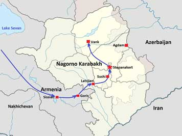 Map of the Nagorno-Karabakh region, we drove from Gori in Armenia to Stepanakert via the Lachin corridor