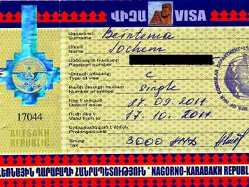 Visa for Nagorno-Karabakh obtained at the Ministry at foreign affairs in Stepanakert on the day of arrival
