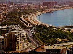The Baku Waterfront with the Sea Side Promenade during the early 1980s, hotel Azerbaijan is under construction