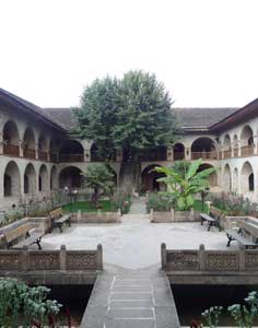 The beautiful courtyard of the Sheki Caravanserai that stills serves like a hotel today