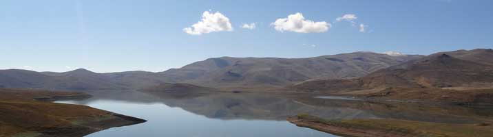Spandaryan Reservoir is a large man-made lake built around 1980 in the Arpa River basin in the Syunik Province