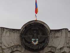 The Nagorno-Karabakh coat of arms has replaced the Soviet coat of arms on the Nagorno-Karabakh Government building