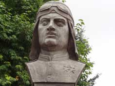 Bust of Soviet WW2 dive bomber pilot and twice hero of the Soviet Union Nelson Stepanyan who was born in Shushi