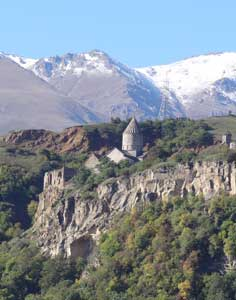 The 9th century Tatev Monastery is beautifully located on a mountain top in the Syunik Province of Southern Armenia