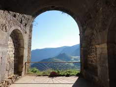The scenic view on the Zangezur Mountains from the Tatev Monastery in the Syunik Province of Southern Armenia