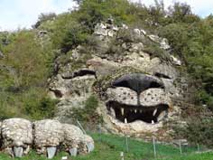 Stone lion belonging to a restaurant carved in a mountain near Vank, the lion actually roars every 5 minutes