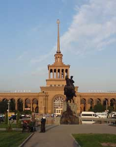 The Yerevan Railway Station with the famous monument of Armenian Hero Sasuntsi Davit in front of it