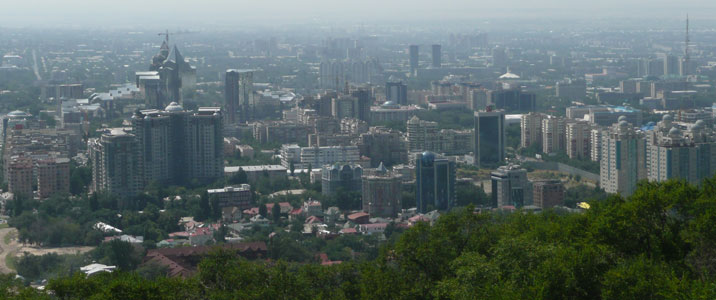 View on the Almaty city centre from Kok Tobe mountain