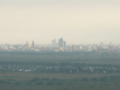The capital Astana rising out of the Kazakh steppes, seen from our aircraft during the landing